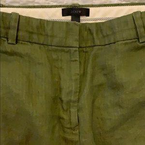 Jcrew linen trouser pant, army green